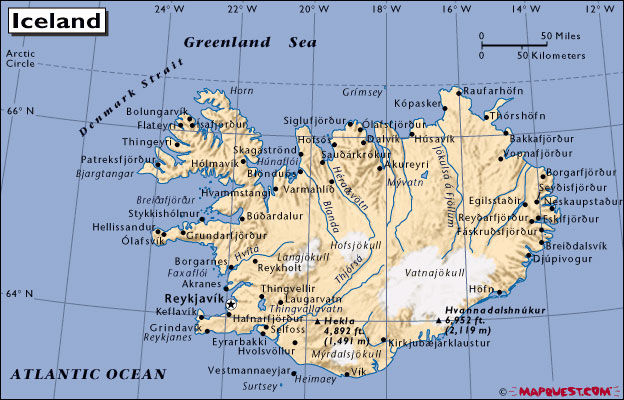 Mapquest Map Of Iceland - What is the latitude and longitude of iceland
